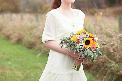 Vintage 1970s Wedding Dress - Medium Lace Long Sleeve Hippie Off Shoulder Gown