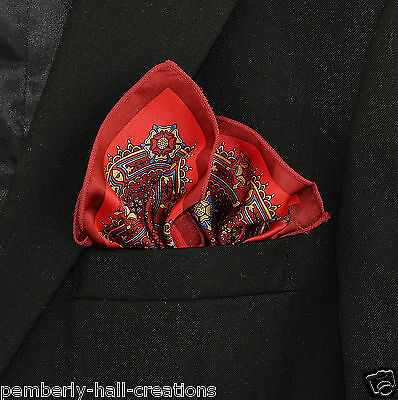 100% Charmeuse Satin Red Burgundy Mens Suit Pocket Square Handkerchief Hanky New