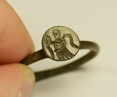 Rare Ancient Greek Bronze Seal Finger Ring With God Nike - Wearable