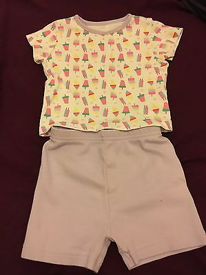 Baby Girls 6-9 Months T-shirt And Shorts Set