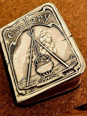 Rare Miniature Sterling Silver Cookery Recipe Book Lees Dods 1906