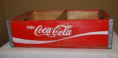 Vintage Coca-Cola Coke Wooden Wood Crate Box Tin Edging RED carrier caddy