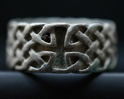 Ancient Viking Silver Finger Ring with CROSS Symbol, ca 1150 AD. Rare Norse Knot