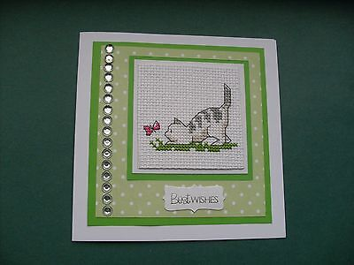 Hand Made Completed Cross Stitch Cat