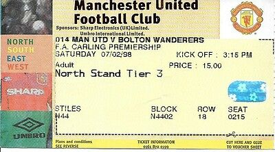 MANCHESTER UNITED v BOLTON WANDERERS 1997/1998 TICKET