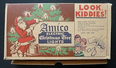 Vintage Amico Christmas Lights Box Santa Circus Animal Doll Cut Outs - Works