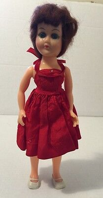Vintage Doll Plastic Celluloid Sleepy Eye  ATC Doll In Red Vogue Dress