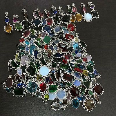 925 Sterling Silver Plated 100 Pieces Double Stone Pendant Lots Wt-426 Gms S2031