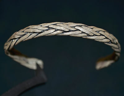 Ancient Viking Twisted Silver Bracelet / Knot Bangle, c 1150 AD. Norse Relic VF