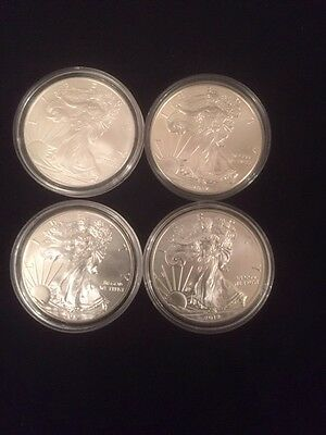 4Silver Eagle Coins In Capsules 2012