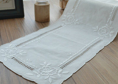 "32"" Oblong Victorian Rose White Table Runner Wedding Embroidered"