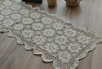 "Vintage 42"" Oblong Ecru Hand Crochet Lace Table Runner French Country Floral"