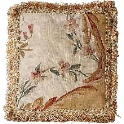 Small Antique French Tapestry and Tasseled Pillow c. 1880