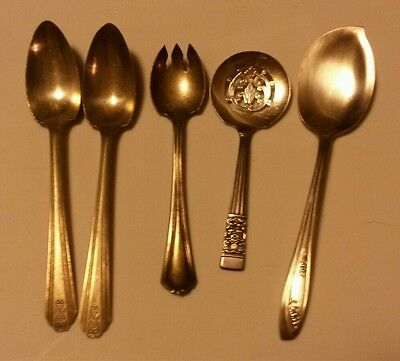 Silverplate Mixed Lot - 5 Spoons (See Pics For Makers)