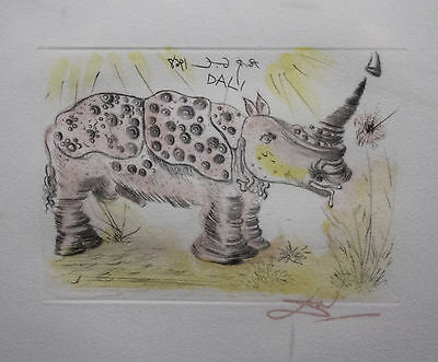 "Salvador Dali ""Rhinoceros"" Framed Etching on Arches Paper"