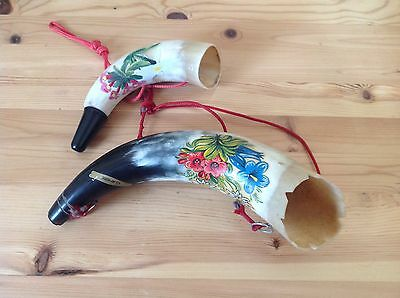 A Pair Of Vintage Swiss Cow Horn