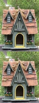 (Set Of 2) Large 2 Level Wooden Welcoming Cottage Birdhouses W/ Beam Trim Roofs