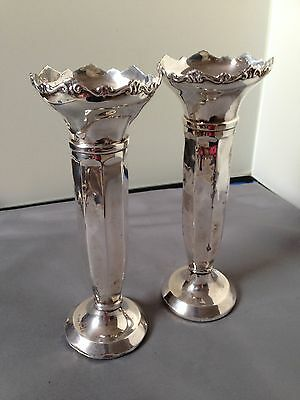 A Pair Of Antique Scrap Sterling silver Spill vases hallmarked London 1935