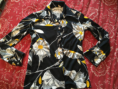 Vintage 60's Polyester Flower Blouse LS Button Front