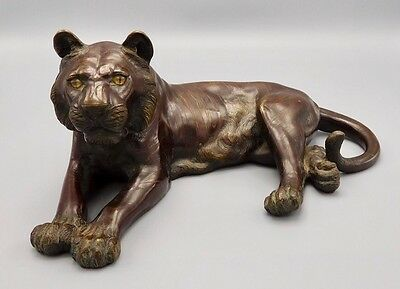 Antique Large Asian Chinese Bronze Tiger, Signed