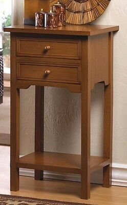 Beautifully Finished Wood Side Table Or Nightstand With 2 Drawers And A Shelf