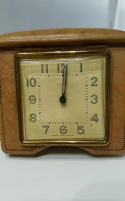 VINTAGE FIND ''FLORN''TRAVEL ALARM CLOCK by Waterbury Clock Co USA MADE