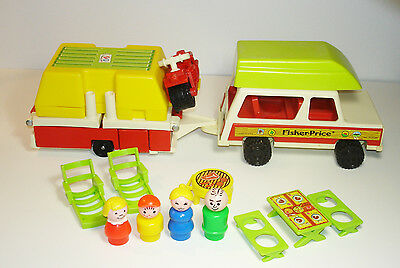 Used Vintage Fisher Price #992 Play Family Car Pop Up Camper Complete No Box