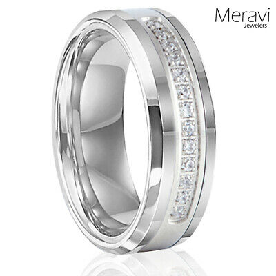Mens Tungsten Carbide 13 CZ Stone Silver Wedding Engagement Band Promise Ring