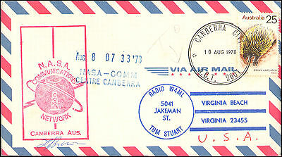 1978 Australia Caceht For Nasa Communications Network ( Space ) + Signed