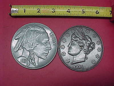 Large Fake Coins INDIAN AND LIBERTY NICKELS  Large 3 Inch Coin Lot #1