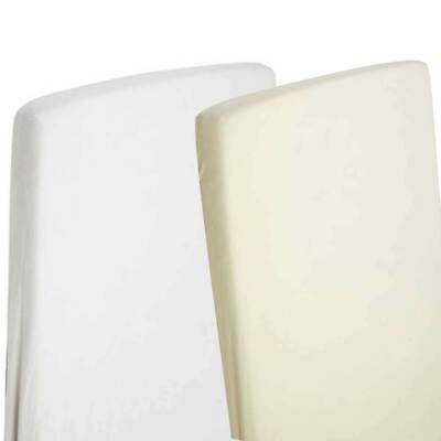 2x Cot Bed Jersey Fitted Sheets 140cm x 70cm 100% Cotton White / Cream