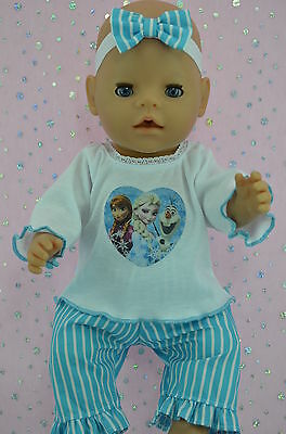 """Play n Wear Doll Clothes For 17"""" Baby Born TURQUOISE STRIPE PANTS~TOP~HEADBAND"""