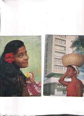 TWO UTA 1960s AIRLINE-ISSUE ADVERTISING POSTCARDS OF TAHITI AND AFRICA