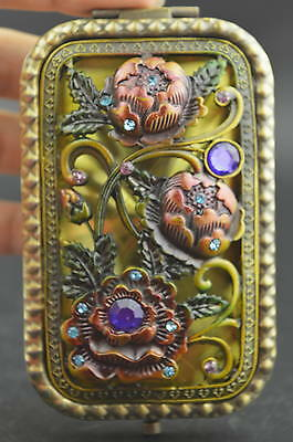 Decorated Copper & Cloisonne Carving Delicate Blooming Flower Rare Noble Mirror