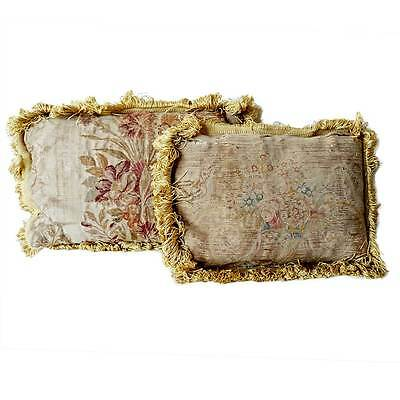Two Antique Small French Aubusson Tapestry Pillows 19th century