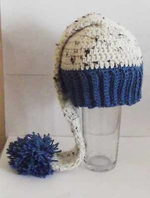 Hand Crochet Boys Tweed and Blue Long Tailed Elf Pixie  Hat Newborn 0-3 months