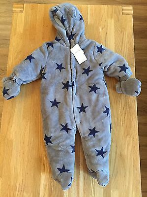 Next Boys All In One Pram Suit Snow Outfit Jacket Grey Stars Fleece Snowsuit 6-9