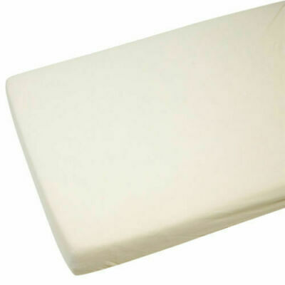 2x Cot Bed 100% Cotton Jersey Fitted Sheets 140 x 70 cm Cream