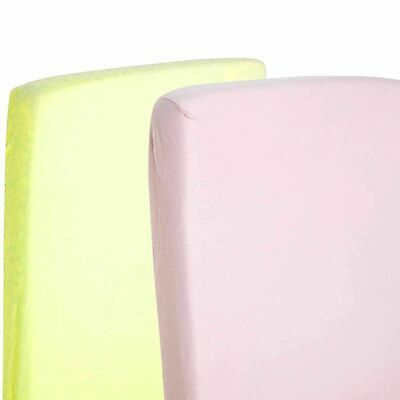 2x Toddler Bed / Junior Bed 100% Cotton Jersey Fitted Sheet 140x70cm Pink & Lemo