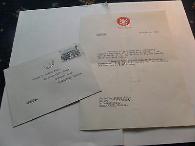 lord carrington signed personal letter/house of lords/includes envelope/1980