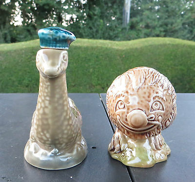 2 Beswick Beneagles Scotch Whisky Miniatures - Haggis & Loch Ness Monster Nessy