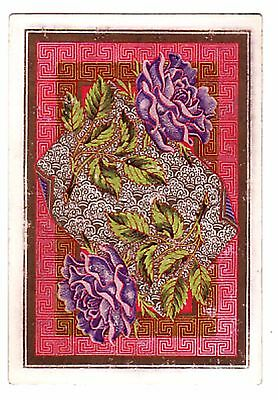 ANTIQUE SQUARE CORNER PURPLE ROSES LEAVES  Single Vintage Playing Card