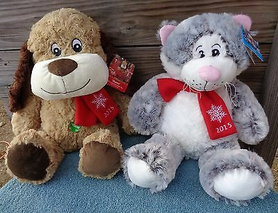 2015 Petsmart Pet Smart Lucky Cat And Chance Dog Holiday Plush Animals With Tags