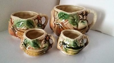 TILSO Hand Painted Majolica Fruit Measuring Cups Japan Numbered Vintage