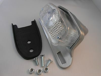 Lucas Style Tail Light Brushed Housing with choice of Red, Smoked or Clear Lens