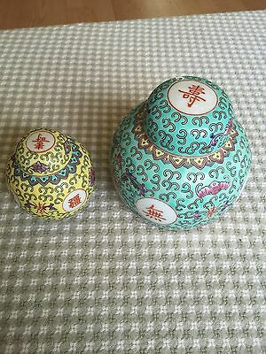 (2)CHINESE PORCELAIN GINGER JARS DECORATED WITH COLORFUL ENAMELS Vintage Urns
