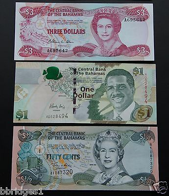 Bahamas Set of 50 Cent, $1 and $3 Dollar Banknotes UNC