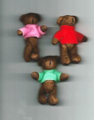"NEW Three Delton Articulated Teddy Bear 4"" Ornaments  #4069-0  Group #1"