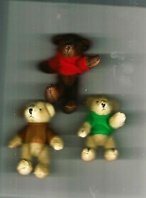 "NEW Three Delton Articulated Teddy Bear 4"" Ornaments  #4069-0  Group #4"