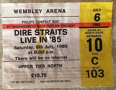 Dire Straits Wembley London UK 6 July 1985 ticket - original